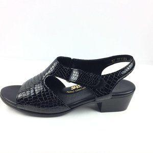 SAS Black Leather Croc Slingback Heeled Sandal 9.5